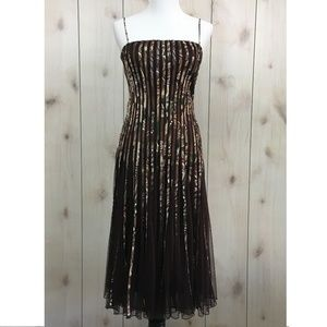 JS Collections Brown Ribbon Trim Mesh Flared Dress